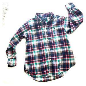 Plaid Red White Blue Green Button Down Shirt- Sz 6